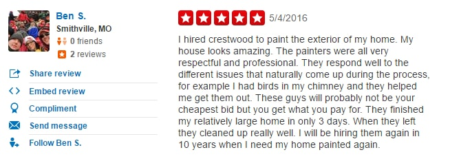 customer review painter kansas city
