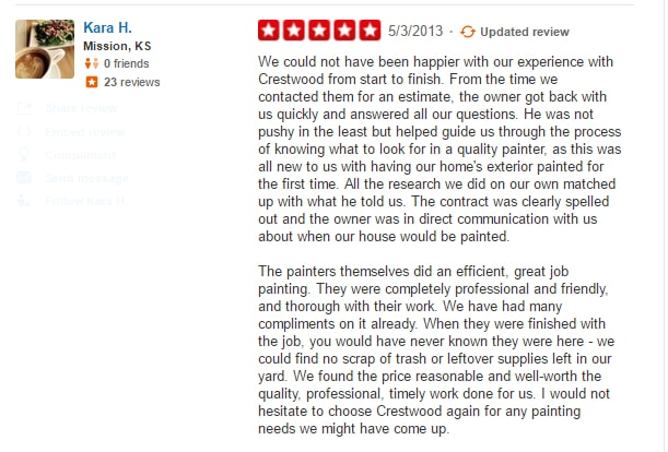 customer review crestwood painting