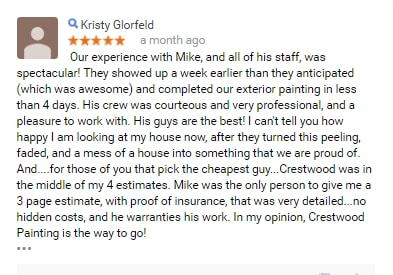customer review painter kansas city crestwood painting